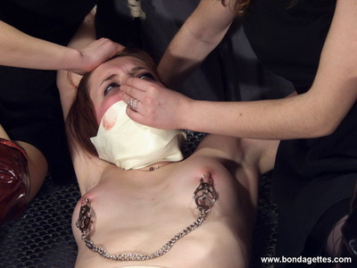 Strange bedframe servitude and female-on-female fuck and play of gagged and teat c