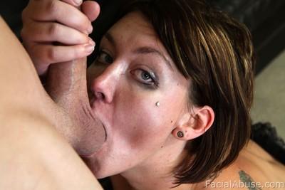 Juvenile receives heartless facial sperm stream