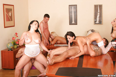 Large milk sacks beauties in hardcore groupsex in an office subsequently meaningful oral play