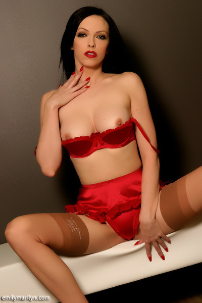 Smokin clammy infatuation vixen Emily Marilyn red satin underclothes tease with sheer  and high heels