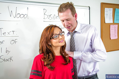 Cute dark hair schoolgirl in glasses Ariana gives a fellatio