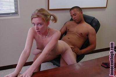 Schoolgirl golden-haired Alexa has a spiteful interracial fucking action on the desk