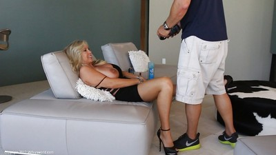 Lewd golden-haired purchases caught on a homemade clip taking in and smokin