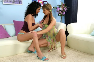 Beautiful lesbian cuties tongue love-cages and sex-toy anuses on sofa