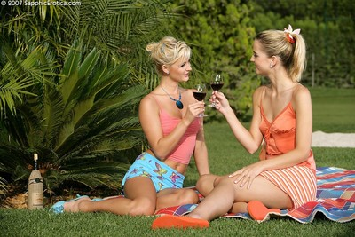 Inexperienced faced blondes strip off and play with tongue bald gentiles at picnic