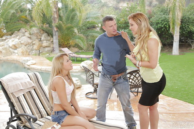 Mean outdoor MMF fucking with blondes Cherie Deville and Zoey Monroe