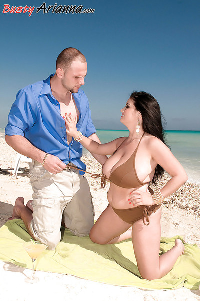 Arianna Sinn posing in bikini and receives her chocolate hole and hulking front bumpers licked
