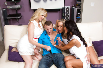 Wooing cougars make some ball cream swapping activity later foursome with a privileged boy