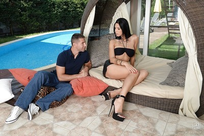Outdoor cum flow scene with a biggest milk cans European lass Kira Model