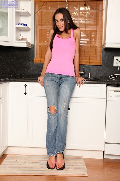 Skinny brunette hair teen in blue jeans undressing and fingering her love-cage