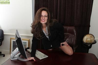 Mini tit dark brown milf Stephanie undressing in the office