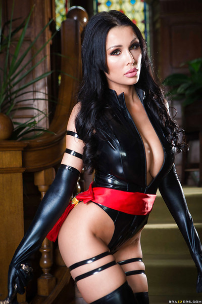 European dear Patty Michova freeing large pornstar scoops from latex outfit