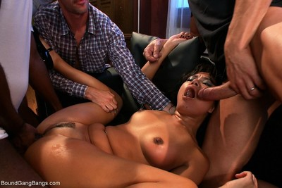 Beauty obtains fixed firmly up and penetrated by group of brown and white gentlemen