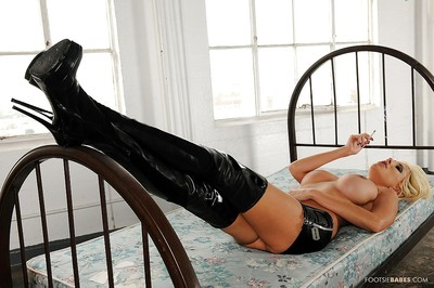 Nasty milf lass in high boots Puma Swede looks dreamy this day