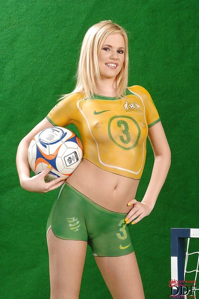 Yasmine Gold lets slip her wild bends sheltered with body painted sport uniform