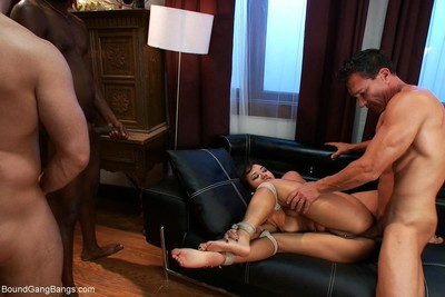 Wild angel acquires bound up, punished and penetrated by group of boys