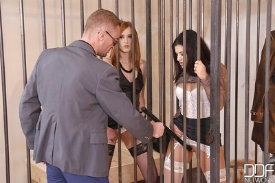 Lesbos Billie Star and Linda Cute swallow off the prison guard