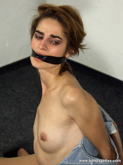 Teen subbie lecea is gagged and hogtied by her domme in a