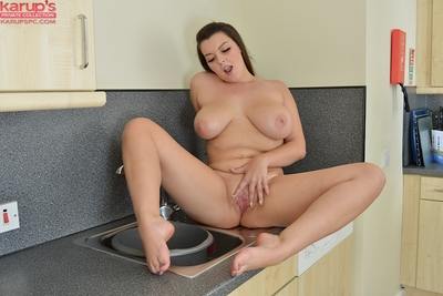 Overweight youthful honey Cherry Blush striptease at the public laundromat