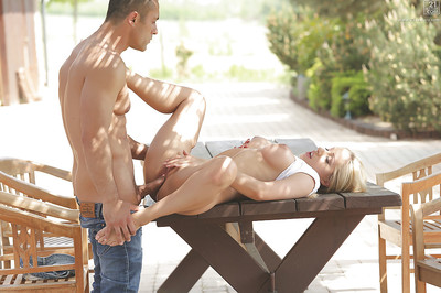 Stunning golden-haired girlfriend Melanie Gold and her faultless mounds giving a bj