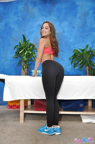 Small Teen-age year old darling Remy positions in yoga shorts and makes public mini whoppers