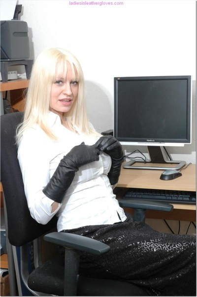Secretary with infatuation for leather gloves flashing pointer sisters