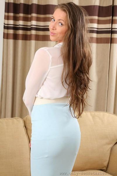 Damp boobsy secretary in stockings