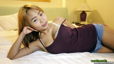 Tattooed thai chicito next door with gigantic breasts picked up undresses on c
