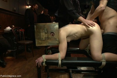 Sub hottie obtains fastened up and tough screwed at public sadomasochism all together