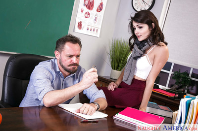 Coed princess Adria Rae flashing white undies on desk ahead of specie emancipated