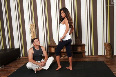 Dark hair hottie Valentina Canali blowing and astonishingly yoga educator