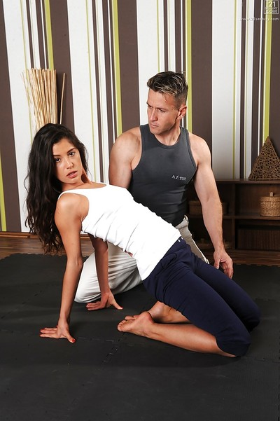 Dark hair hottie Valentina Canali blowing and astonishingly yoga educator