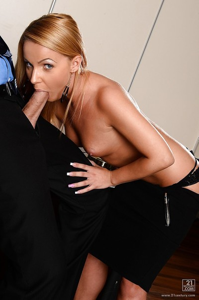Christine Love trying to please her boss by sucking his wiener