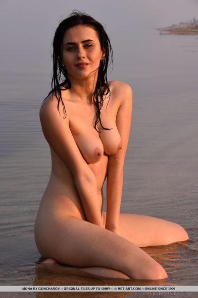 Dark brown beach angel lets slip tiny bra buddies and skinhead slit despite the fact glam widen