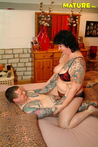 Melodious tatooed duet having red moist firey banging