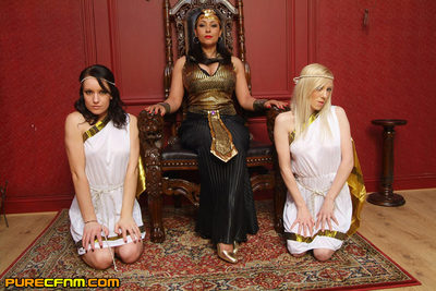 Dear orders boy bottom to be unclothed and wanked by her female servants