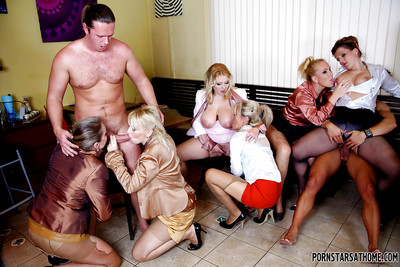 Sexually aroused melodious pornstars are keen to CFNM groupsex with a raunchy fellow