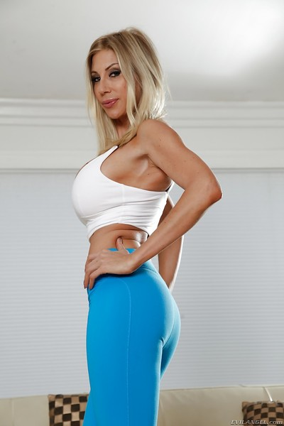 Damp blond MILF Puma Swede posing enormously covered in yoga g-string
