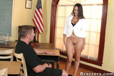 Breasty mentor Carmella Bing owned by a well hung gentleman on her table