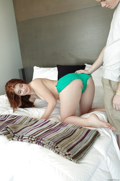 Redhead amateur Ava Sparxxx bending over for virgin ass-hammering activity