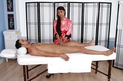 Exhilarating Eastern masseuse Sharon Lee making her assistant happy