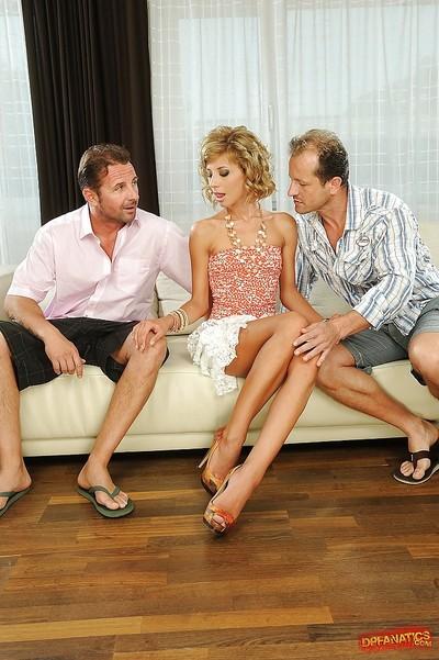 Spectacular blond Ioana has a dualistic men plus one female fellatio with dualistic massive schlongs