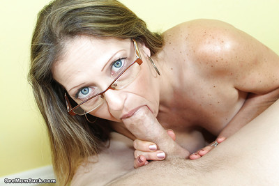 Hot milf does an number 1 way cocksucking although wearing her glasses