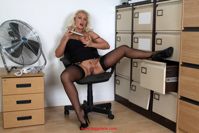 Extreme golden-haired Lana wearing alluring swarthy sexy pants and toying her gentile
