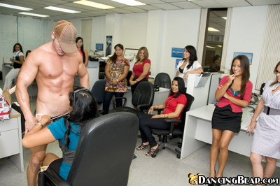 Passionate Latin chick dears participate a CFNM all together in their office