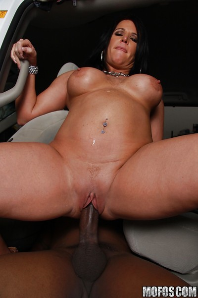 Sultry mellow dark brown Kendra Secrets is likes interracial cum-hole hammering