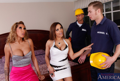 2 Spectacular untamed latinas have raw love making act with dualistic gigantic cocked studs.