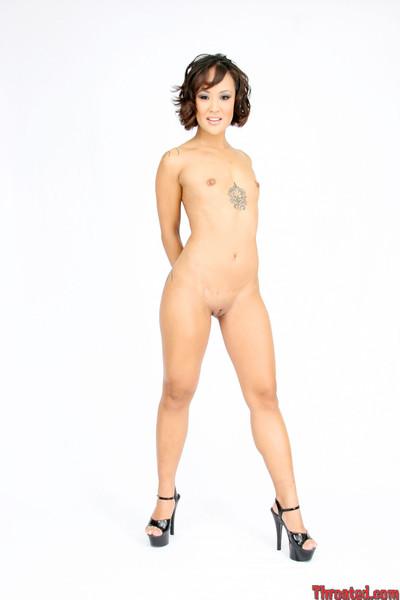 Tattooed Japanese hottie jandi lin swallows a stick bottomless