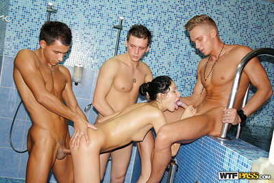 Sexually aroused queen receives dug and takes a 3 facial in the shower-room