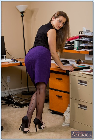 Foxy office pretty Dani Daniels erotic dance and swelling her nylons clothes legs